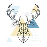 Deer polygonal head. Scandinavian style. Vector illustration. - 183906015