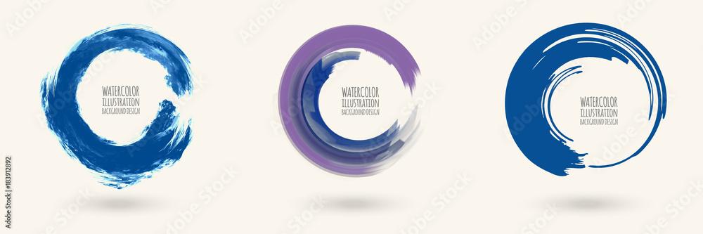 Fototapeta Watercolor circle texture. Vector circle elements