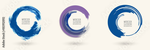 Watercolor circle texture. Vector circle elements Fototapet