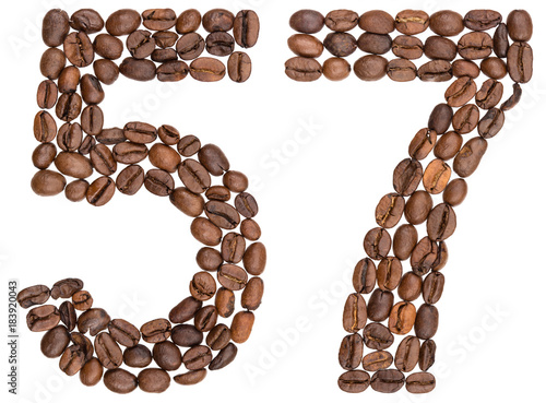 Fotografie, Obraz  Arabic numeral 57, fifty seven, from coffee beans, isolated on white background