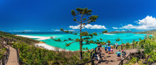 WHITSUNDAYS, AUS - SEPT 22 2017: Lookouts Over Whitehaven Beach In The Whitsunday Islands, Queensland, Australia
