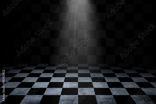 Black And White Checker floor Grunge Room Canvas Print