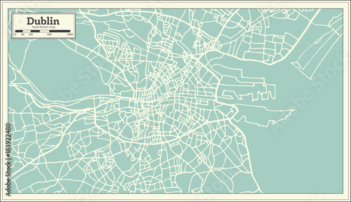 Dublin Ireland Map in Retro Style. Wallpaper Mural