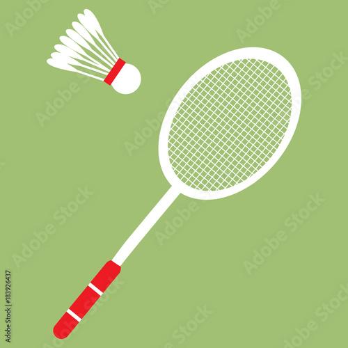 Vector set of badminton racket and shuttle Canvas Print