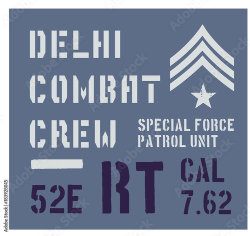 Delhi military plate, realistic looking military typography