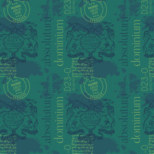 Absolutum Dominium - Absolute Dominion In Latin Language. Vintage Madrid Coat Of Arms Pattern Design.