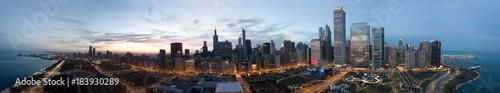 Fototapeta Chicago Downtown Drone View obraz na płótnie