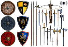 Set Of Different Ancient Weapons
