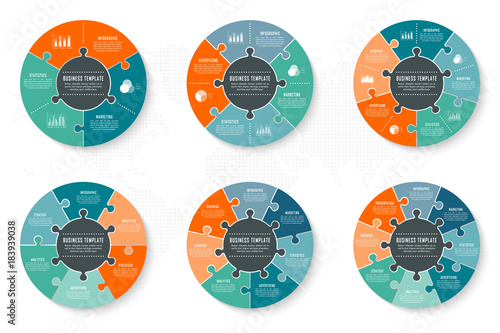Photo  Infographic timeline circle template can be used for chart, diagram, web design, presentation, advertising, history