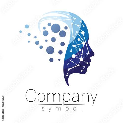 Vector symbol of human head. Profile face. Blue color isolated on white background. Concept sign for business, science, psychology, medicine. Creative sign design Man silhouette. Modern logo Wall mural