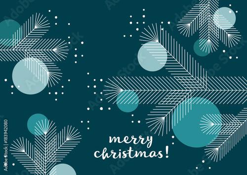 Weihnachtsgrüße Englisch.Weihnachtsbaum Mit Kugeln Grafik Weihnachtsgruß Geometrische