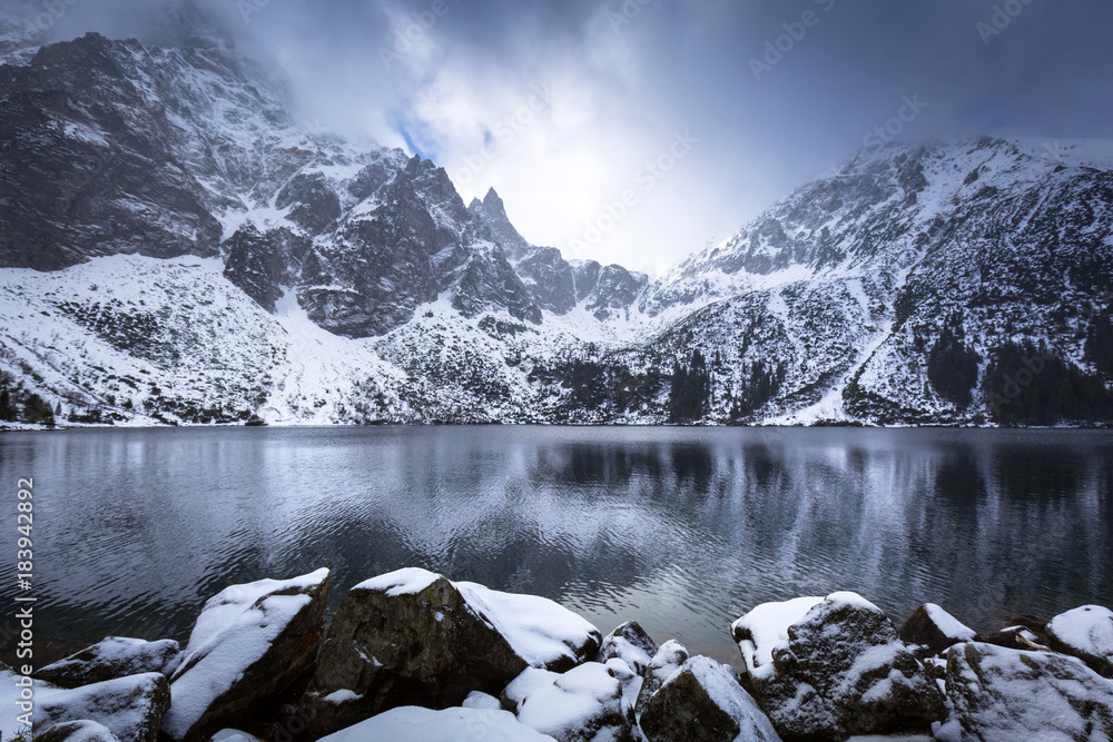 Fototapety, obrazy: Beautiful winter at Eye of the Sea lake in in Tatra mountains, Poland