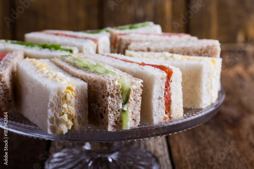 English tea sandwiches on cake stand