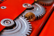 canvas print picture - Gears and cogs close up and bitcoin coin