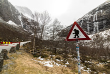 Funny Troll Warning Sign At The Road To Trollstigen, Norway