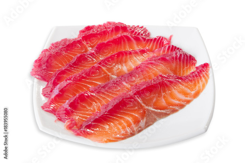Spoed Foto op Canvas Klaar gerecht Fresh raw tuna fish steaks.isolated on white background, view from above, close-up