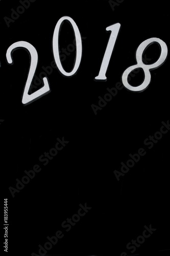 2018 in black and white new year background with copy space