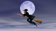 Befana Su Scopa Volante Con Sfondo La Luna