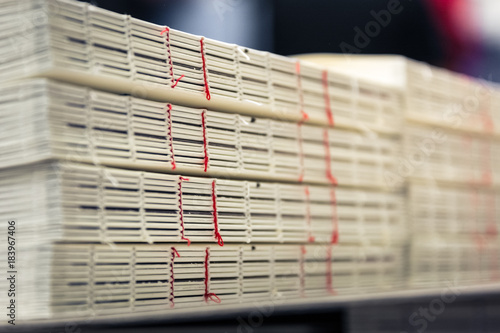 Fotografija Book Binding Thread Red Spines Stacks Industrial Production Finishing