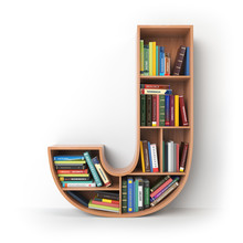 Letter J. Alphabet In The Form Of Shelves With Books Isolated On White.