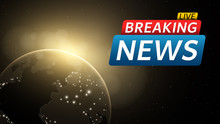 Breaking News Live. Abstract Futuristic Background With A Glowing Yellow Planet Earth. Technology And Business. Live On TV. Many Stars In Space. Vector