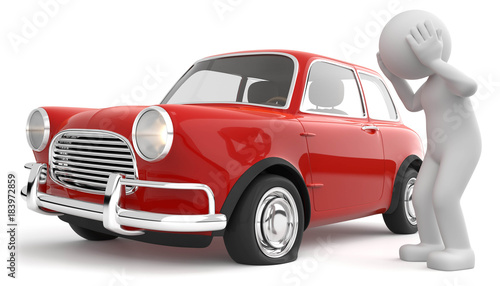 Fotobehang Vintage cars 3d Männchen Autopanne