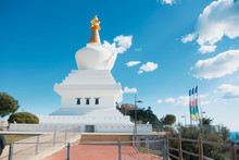 A View To The Buddhist Stupa In Benalmadena Town, Andalusia, Spain. Mediterranean Sea At The Background.