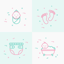 Baby Care Thin Line Icons Set:...