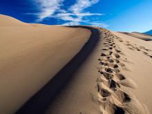 Sand Dune, Footprints, Blue Sky, Great Sand Dunes National Park, Colorado