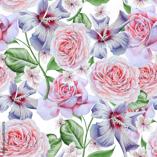 Bright seamless pattern with flowers. Rose. Hibiscus. Watercolor illustration. Hand drawn.