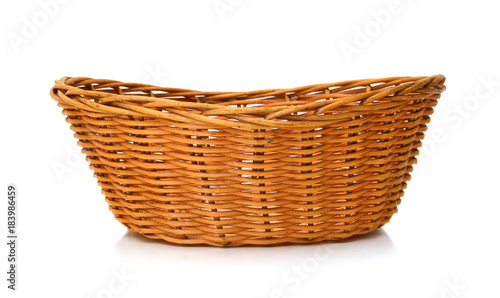 Empty wooden fruit or bread basket on white background Slika na platnu