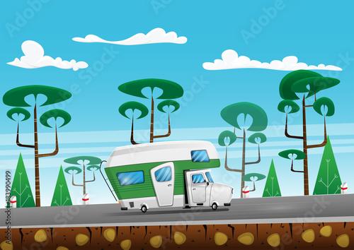 Foto op Aluminium Pixel Family traveler truck on summer on forest area road