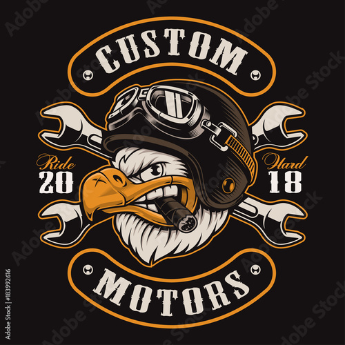 Eagle biker t-shirt design (color version) Fototapeta