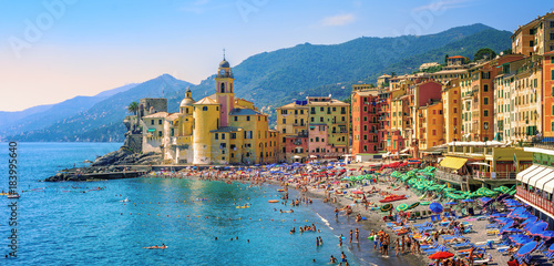 Canvas Prints Liguria Mediterranean beach in Camogli, Liguria, Italy