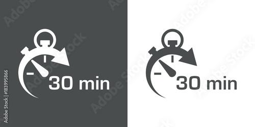 Icono plano cronometro con 30 min gris y blanco Poster Mural XXL