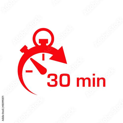 Fotografia  Icono plano cronometro con 30 min rojo en fondo blanco