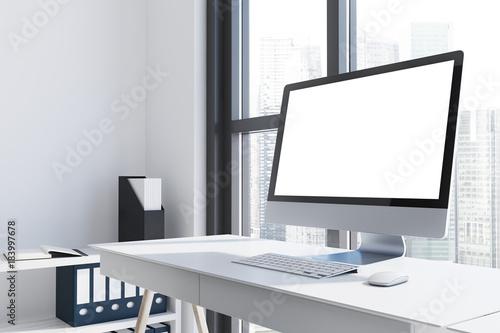Fotografie, Obraz  White computer screen on a white desk