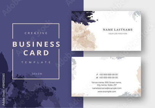 Business Card Layout With Watercolor Brush Effects Buy This Stock