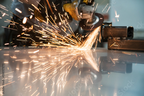 Sparks bouncing off metal
