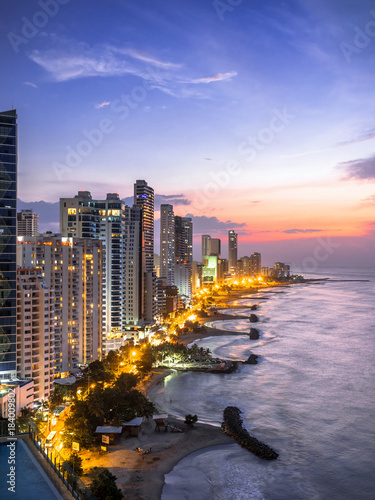 Cartagena de Indias skyline at dusk, Colombia.