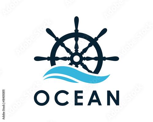 Carta da parati Ship and Boat Helm Steering Wheel on The Wave Water Ocean Logo Symbol