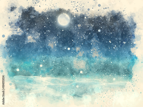 Keuken foto achterwand Blauwe jeans Abstract watercolour painting of a winter snow landscape