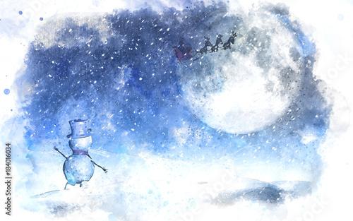akwarela-boze-narodzenie-krajobraz-z-balwana-machajac