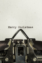 Merry Christmas Typed On A Vintage Typewriter