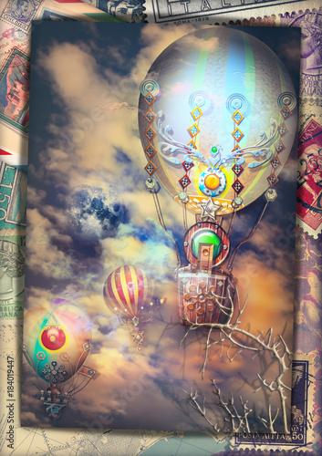 Poster Imagination Cartolina vintage con mongolfiere steampunk in volo in un cielo notturno e tempestoso