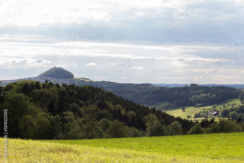 Fotobehang Wit green landscape at springtime at south germany countryside