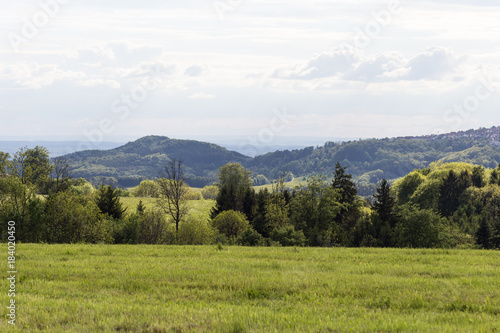Deurstickers Wit green landscape at springtime at south germany countryside
