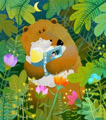 Fototapeta Do pokoju dziecka Good night fairy tale before going to bed. Vector illustration.