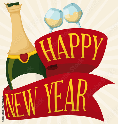 champagne bottle wineglasses and red ribbon for new year celebration vector illustration