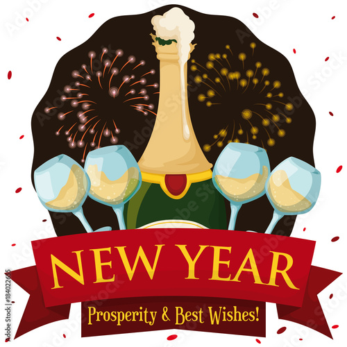 new year scene with champagne wineglasses confetti and fireworks display vector illustration